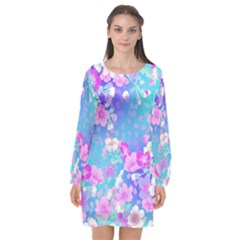 Flowers Cute Pattern Long Sleeve Chiffon Shift Dress  by Nexatart