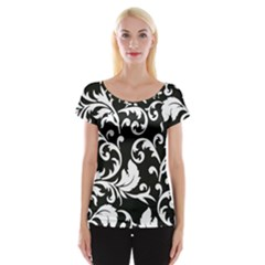 Black And White Floral Patterns Women s Cap Sleeve Top by Nexatart