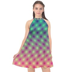 Art Patterns Halter Neckline Chiffon Dress