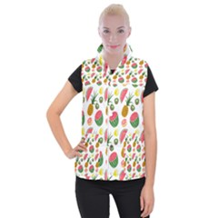 Fruits Pattern Women s Button Up Puffer Vest by Nexatart