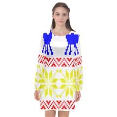 Jacquard With Elks Long Sleeve Chiffon Shift Dress  by Nexatart