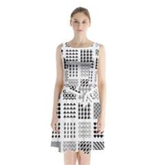 Retro Patterns Sleeveless Waist Tie Chiffon Dress by Nexatart