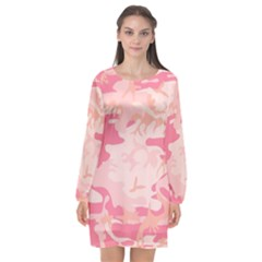 Pink Camo Print Long Sleeve Chiffon Shift Dress  by Nexatart