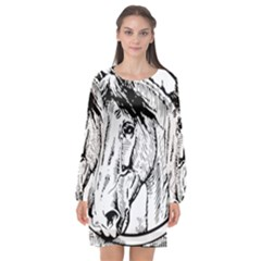 Framed Horse Long Sleeve Chiffon Shift Dress  by Nexatart