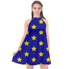 Star Pattern Halter Neckline Chiffon Dress  by Nexatart