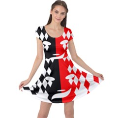 Face Mask Red Black Plaid Triangle Wave Chevron Cap Sleeve Dresses