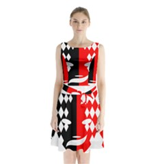 Face Mask Red Black Plaid Triangle Wave Chevron Sleeveless Waist Tie Chiffon Dress by Mariart
