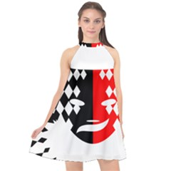 Face Mask Red Black Plaid Triangle Wave Chevron Halter Neckline Chiffon Dress  by Mariart