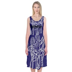 Gemini Zodiac Star Midi Sleeveless Dress by Mariart