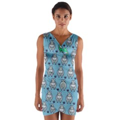 Funny Cow Pattern Wrap Front Bodycon Dress by Nexatart