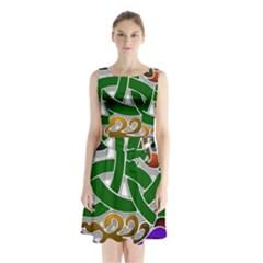 Celtic Ornament Sleeveless Waist Tie Chiffon Dress by Nexatart