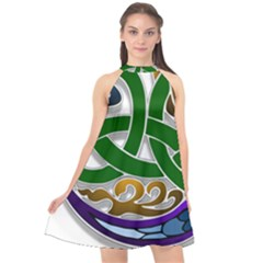 Celtic Ornament Halter Neckline Chiffon Dress