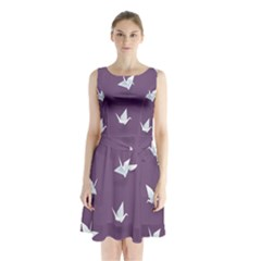 Goose Swan Animals Birl Origami Papper White Purple Sleeveless Waist Tie Chiffon Dress by Mariart
