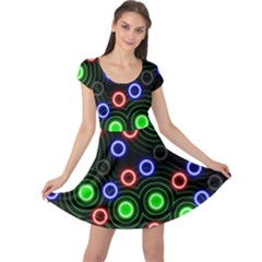 Neons Couleurs Circle Light Green Red Line Cap Sleeve Dresses
