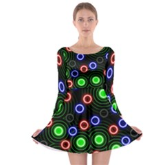 Neons Couleurs Circle Light Green Red Line Long Sleeve Skater Dress