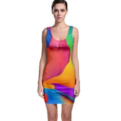 Paint Rainbow Color Blue Red Green Blue Purple Sleeveless Bodycon Dress
