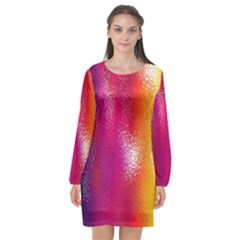Color Glass Rainbow Green Yellow Gold Pink Purple Red Blue Long Sleeve Chiffon Shift Dress  by Mariart
