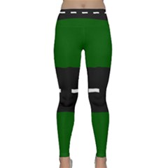 Road Street Green Black White Line Classic Yoga Leggings