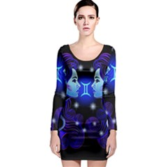 Sign Gemini Zodiac Long Sleeve Bodycon Dress by Mariart