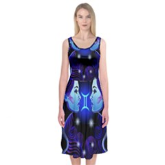 Sign Gemini Zodiac Midi Sleeveless Dress by Mariart