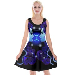 Sign Gemini Zodiac Reversible Velvet Sleeveless Dress by Mariart