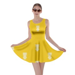 Waveform Disco Wahlin Retina White Yellow Vertical Skater Dress by Mariart