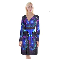 Sign Pisces Zodiac Long Sleeve Velvet Front Wrap Dress by Mariart