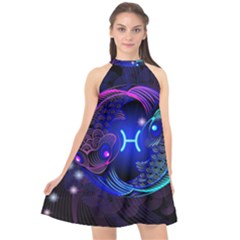 Sign Pisces Zodiac Halter Neckline Chiffon Dress  by Mariart