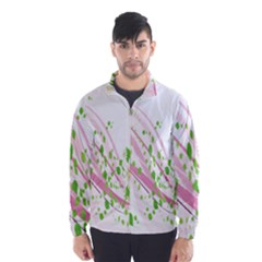 Sunflower Flower Floral Leaf Line Wave Chevron Pink Wind Breaker (men) by Mariart