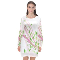 Sunflower Flower Floral Leaf Line Wave Chevron Pink Long Sleeve Chiffon Shift Dress  by Mariart
