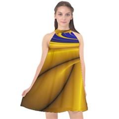 Waves Wave Chevron Gold Blue Paint Space Sky Halter Neckline Chiffon Dress  by Mariart