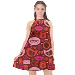 Xoxo! Halter Neckline Chiffon Dress