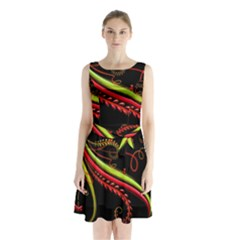 Cool Pattern Designs Sleeveless Waist Tie Chiffon Dress by Nexatart