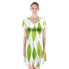 Spring Pattern Short Sleeve V Neck Flare Dress by Nexatart