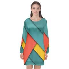 Color Schemes Material Design Wallpaper Long Sleeve Chiffon Shift Dress  by Nexatart