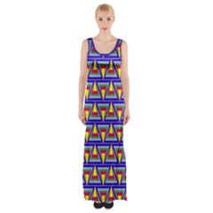 Seamless Prismatic Pythagorean Pattern Maxi Thigh Split Dress