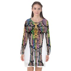 Prismatic Floral Pattern Elephant Long Sleeve Chiffon Shift Dress  by Nexatart