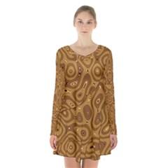 Giraffe Remixed Long Sleeve Velvet V Neck Dress by Nexatart