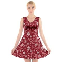 Merry Christmas Pattern V Neck Sleeveless Skater Dress by Nexatart