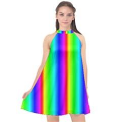 Rainbow Gradient Halter Neckline Chiffon Dress