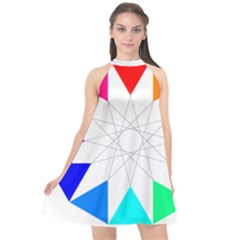 Rainbow Dodecagon And Black Dodecagram Halter Neckline Chiffon Dress  by Nexatart