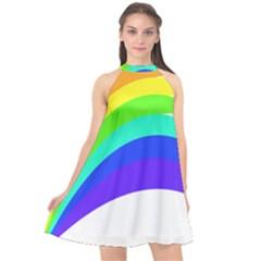 Rainbow Halter Neckline Chiffon Dress  by Nexatart