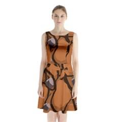 Seamless Dirt Texture Sleeveless Waist Tie Chiffon Dress by Nexatart