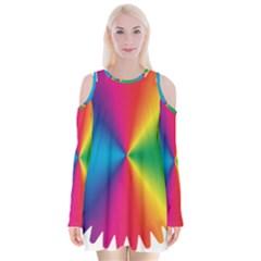 Rainbow Seal Re Imagined Velvet Long Sleeve Shoulder Cutout Dress by Nexatart