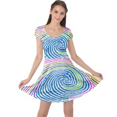 Prismatic Fingerprint Cap Sleeve Dresses