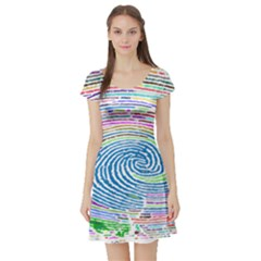 Prismatic Fingerprint Short Sleeve Skater Dress