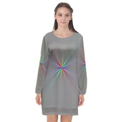 Square Rainbow Long Sleeve Chiffon Shift Dress  by Nexatart