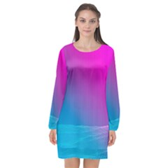 With Wireframe Terrain Modeling Fabric Wave Chevron Waves Pink Blue Long Sleeve Chiffon Shift Dress  by Mariart