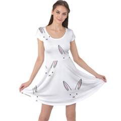 Bunny Line Rabbit Face Animals White Pink Cap Sleeve Dresses by Mariart