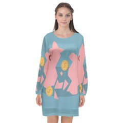 Coins Pink Coins Piggy Bank Dollars Money Tubes Long Sleeve Chiffon Shift Dress